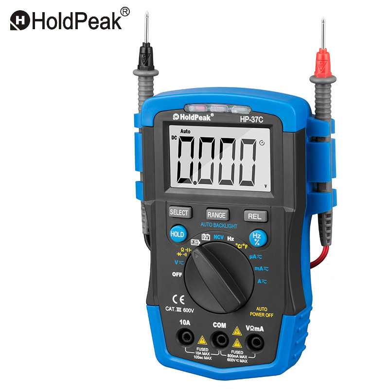 Mini Multimetro Digital HoldPeak HP-37C Auto Range True RMS AC/DC Voltage Digital Multimeter Temperature NCV Electrical Tester holdpeak hp 90epc multimetro digital usb multimeter dmm auto range tester lcd ammeter capacitance meter pc data transmission