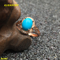 KJJEAXCMY fine jewelry 925 Silver inlaid with natural turquoise women's ring jewelry.