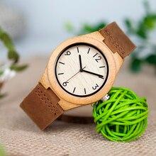BOBO VOGEL Marke Digitaluhr Frauen Bambus Uhren Damen Lederarmband Armbanduhren relogio feminino B A44