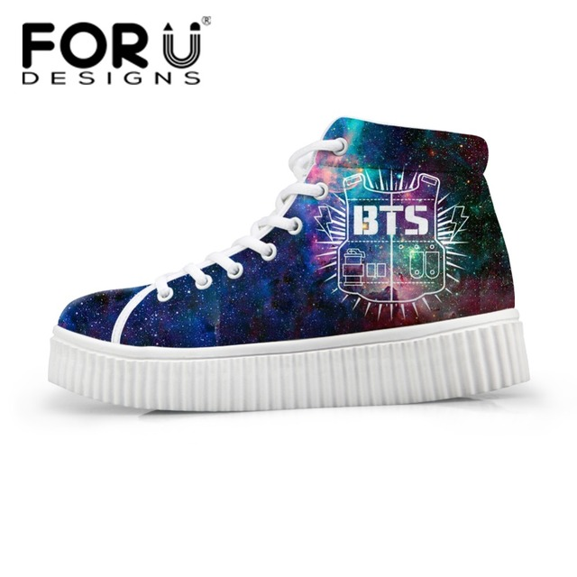 FORUDESIGNS High Top Women Winter Boots Shoes BTS Printing Female Platform  Shoes Fashion Women Footwear Flat Cute Trainer Shoes 5774d37efa16