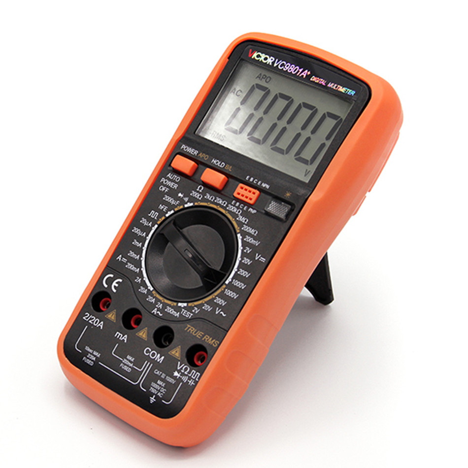 VC9801A+ Digital Multimeter DMM AC/DC Ammeter Voltmeter Ohmmeter w/Capacitance hFE Test & LCD Backligh vici vichy vc88 3 3 4 auto range digital multimeter dmm w temperature capacitance frequency hfe