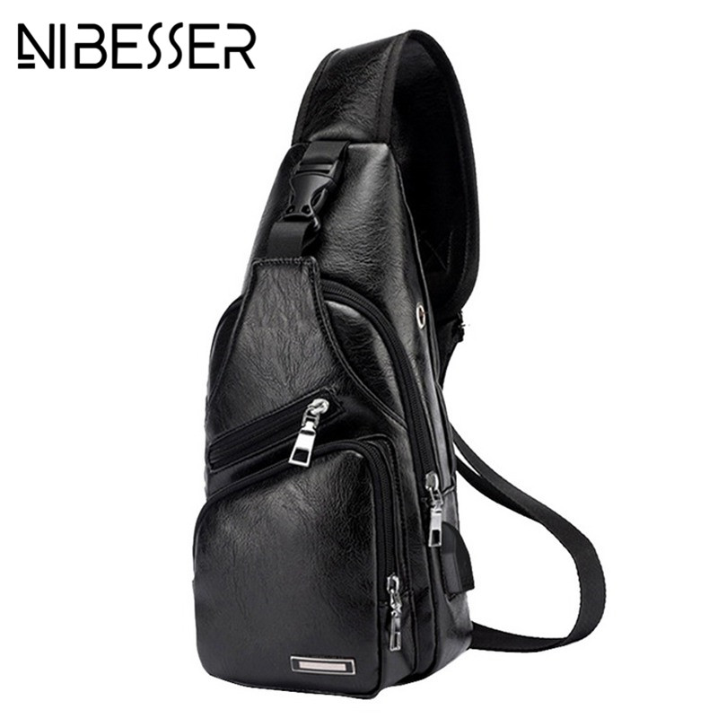 NIBESSER Men's Chest Bag Men Leather Chest USB Backbag With Headphone Hole Travel Organizer Male Bag
