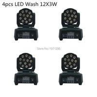 4PCS Good Quality DMX Stage Light LED Moving Head Mini Wash 12X3W RGB Professional Stage DJ