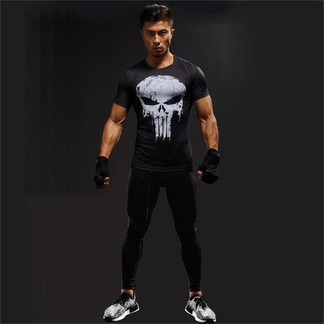 Punisher Gym Sport Short Sleeve T Shirt Men T-Shirt Male Crossfit Tee Captain America Superman tshirt Fitness Compression Shirt  5