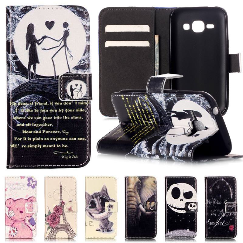 Wallet For Coque Samsung Galaxy J1 Case Leather + Silicone Phone Case Samsung Galaxy J1 Mini Cover 3D Relief Anime Cartoon Cat