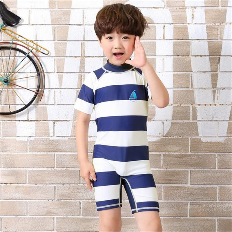 becc3d862f0 2017 Korean New Arrivals Striped Boys Sunscreen Bathing Suit One-piece  Children Swimwear Short Sleeve Beach Kids Swimsuit 62778