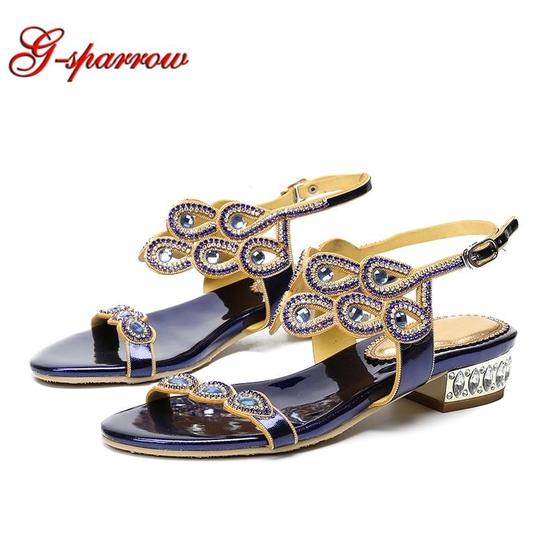 2019 gladiateur plat sandales femmes chaussures de luxe strass d'été sandales grande taille 43 44 bleu argent noir or demoiselle d'honneur chaussures