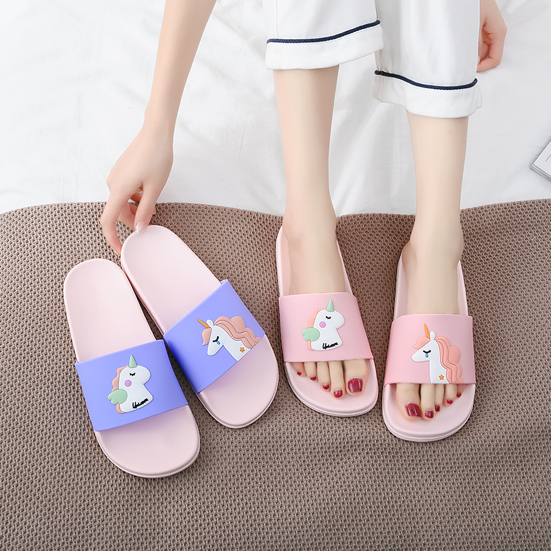 Soft Slippers Sandales Flip-Flops Unicorn Femmes Summer Ladies Cartoon EVA Pantoufles