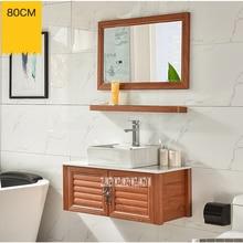 Небольшая настенная комната алюминиевый шкаф Санузел керамическая раковина Шкаф комбинированный шкаф для хранения принадлежностей в ванной комнате мраморная столешница