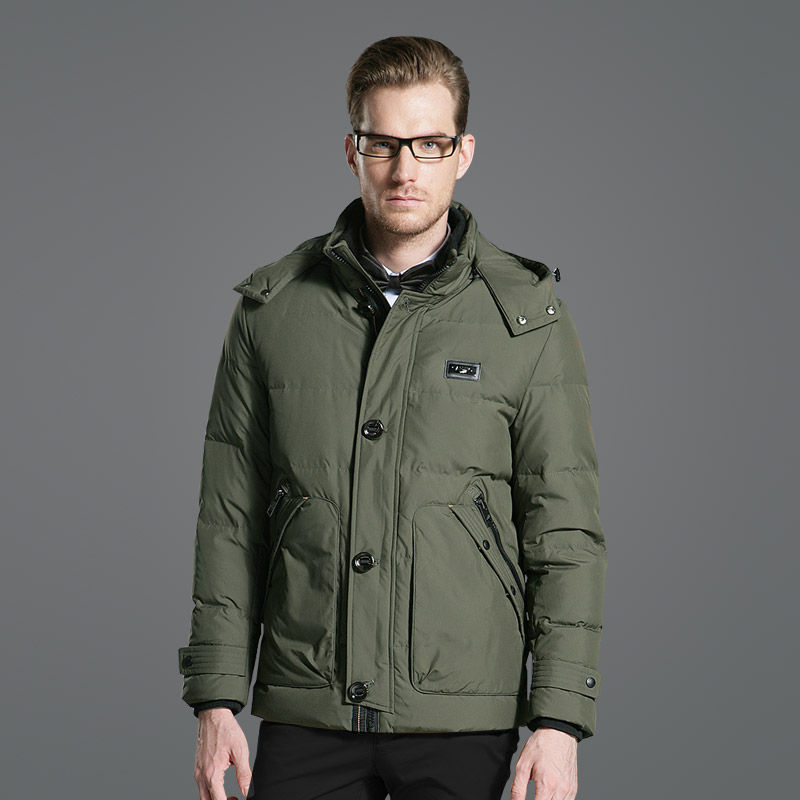 DZYS Men's Thick Duck   Down   Jacket   Down     Coat   with Hat Detachable for Men Male 3635