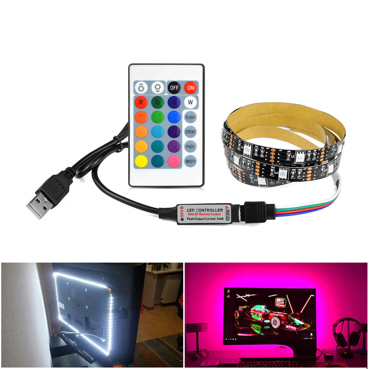 5 V USB Power LED Strip Light 1 M 2 M 3 M 4 M 5 M RGB TV Backlight lampu LED Tape untuk TV HDTV Latar Belakang RGB/Putih/Warm White