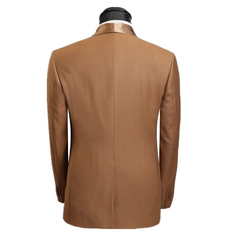 Vêtement Le Formelle Costumes jackt Pantalon Or Marron Cravate Boutons Un Bal De Dîner Nouveaux Col Châle Costume Mariage Produits Marié Cw5Y1Y