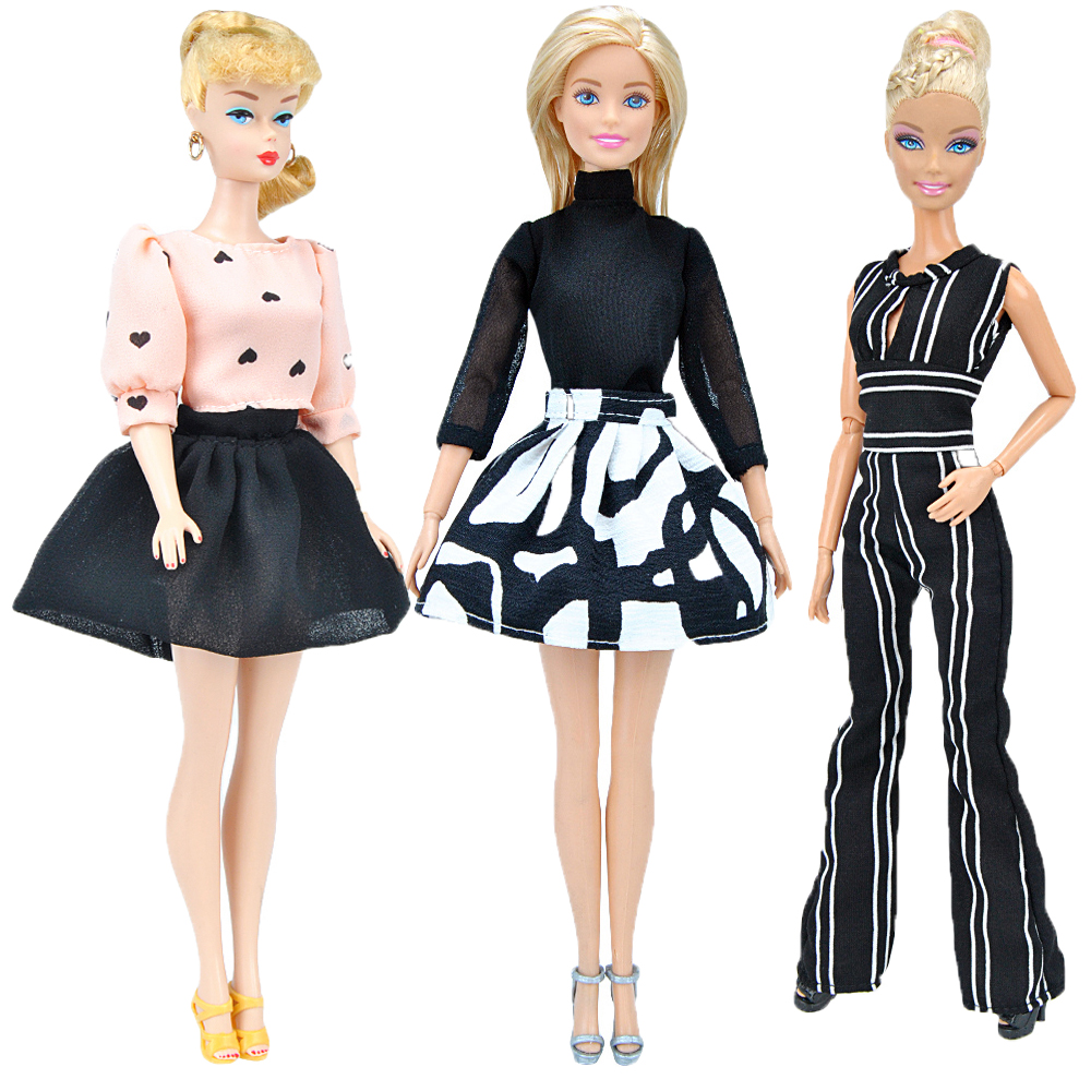 E-TING Fashion Doll Clothes 3PCS Handmade Party Dress Girls Suit Chiffon Shirt Mini Skirt Jumpsuits For Barbie Accessories Shoes autonomous design handmade gifts for girls doll accessories evening suit wedding dress clothes for barbie doll bbi00508