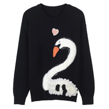 Women Sweater Heart and Swan Embroidery Jumper Animal Jersey Plus Size Runway Luxury Long Sleeve Pullovers Knitted Top Lolita(China)