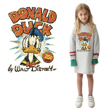 hot sale 25cm*19cm cartoon Donald Duck patches iron on transfer for clothing children diy ironing stickers garment accessories