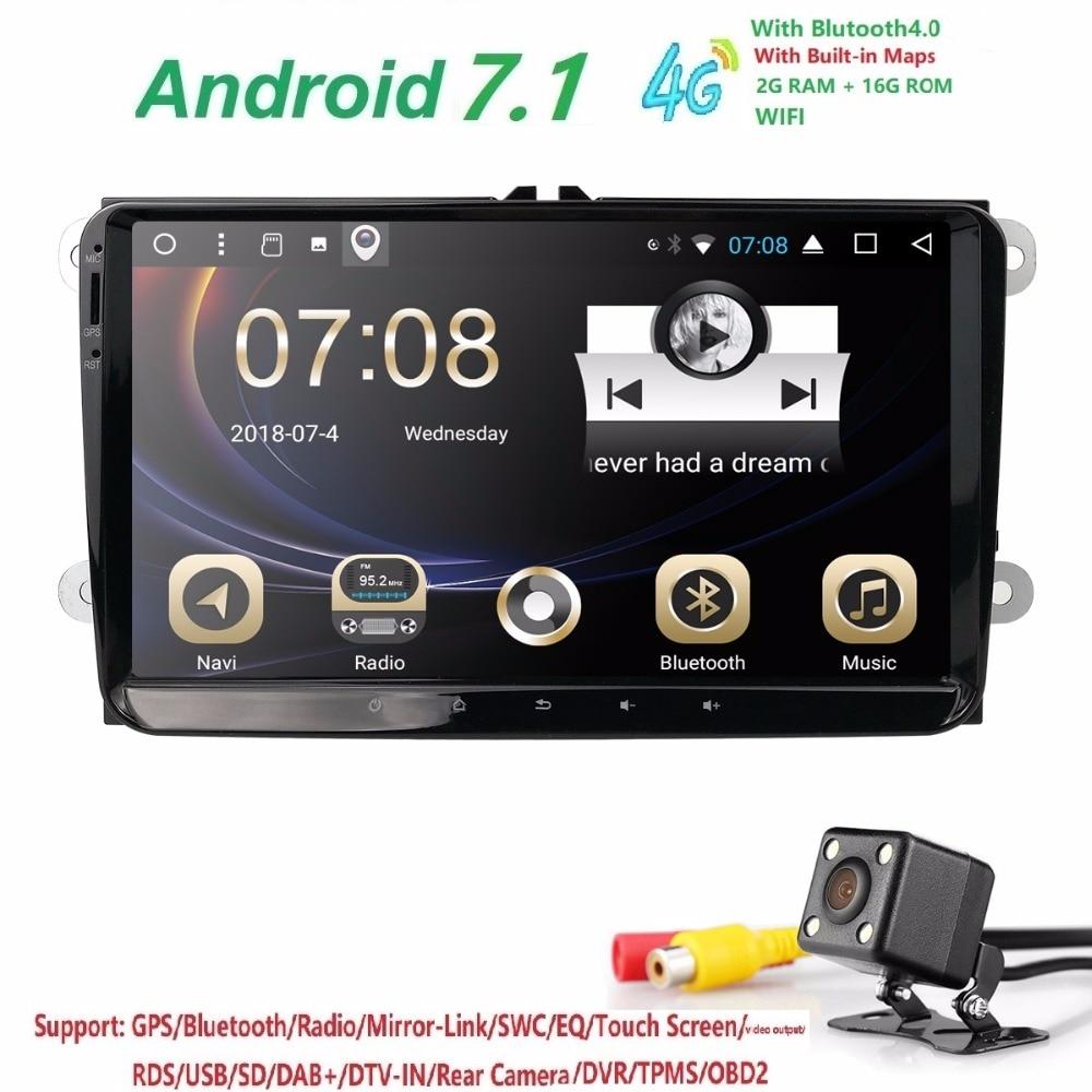 Hizpo 2din android 7.1 2 + 16 auto NOdvd b6 golfi jaoks 4 5 tiguan - Autode Elektroonika - Foto 3