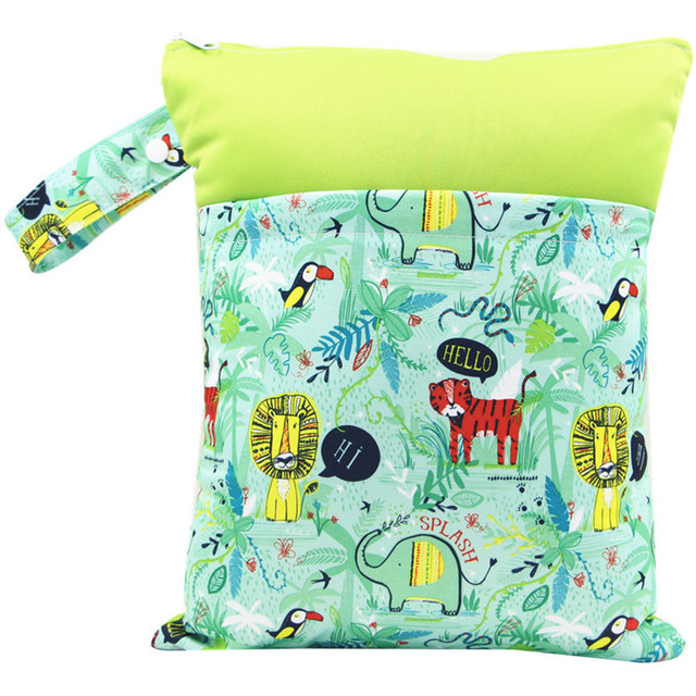 Reusable Dry Wet Bag Patchwork Double Pockets Zipper PUL Stroller Bags Print Nappy Changing Baby Care Cloth Diaper Bag Washable   Happy Baby Mama
