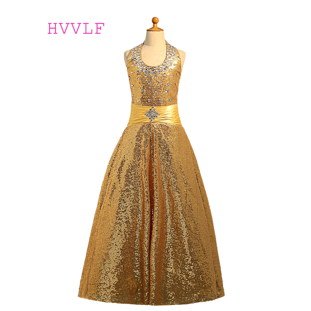 Gold 2019   Girls   Pageant   Dresses   Ball Gown Halter Sequins Sparkle Crystals   Flower     Girl     Dresses   First Communion   Dresses