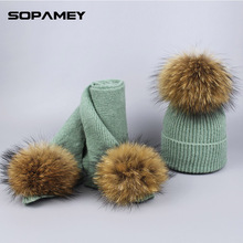 Фотография Winter Women Fashionable Knitted Top Hats and Scarves With Natural Raccoon Fur Pompons Children