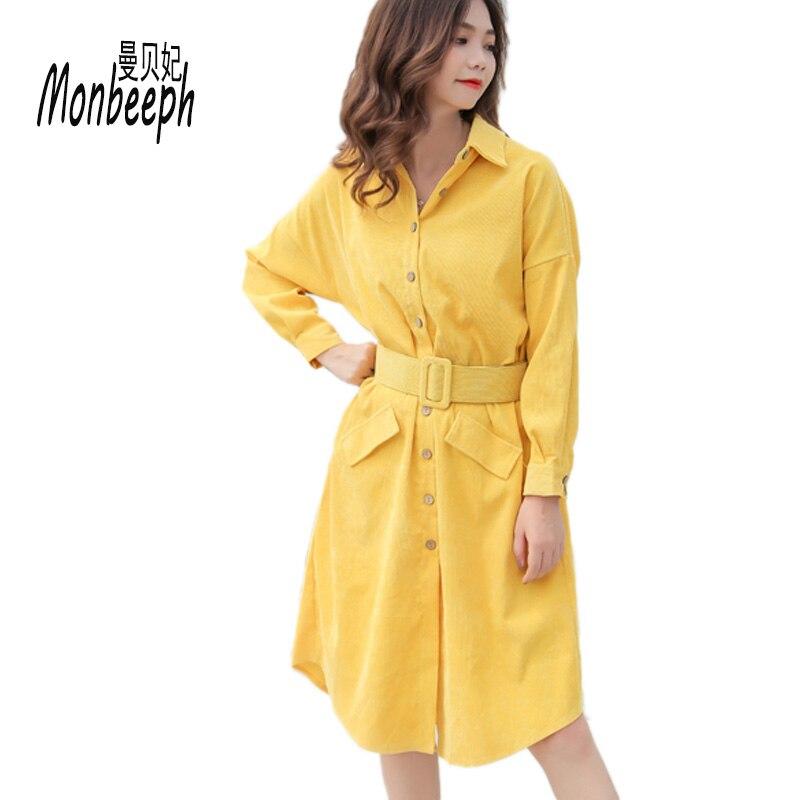 Monbeeph manches longues Blouse chemise robe avec ceinture femmes robe oversize décontracté bureau travail jaune vert Vestidos avec poches