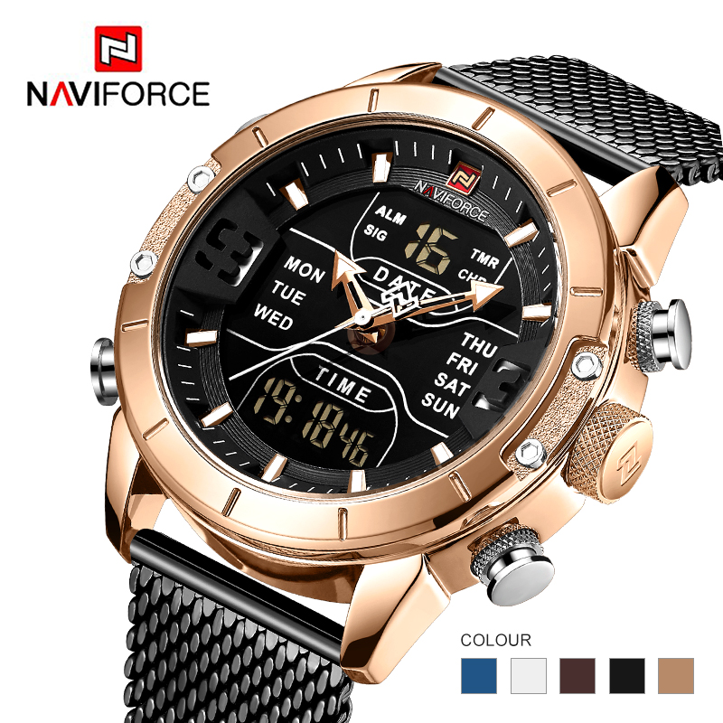 Mens watch top brand luxury NAVIFORCE 9153 stopwatch LED sport military waterproof steelstrap wristwatch relogio masculino clock Quartz Watches     - title=