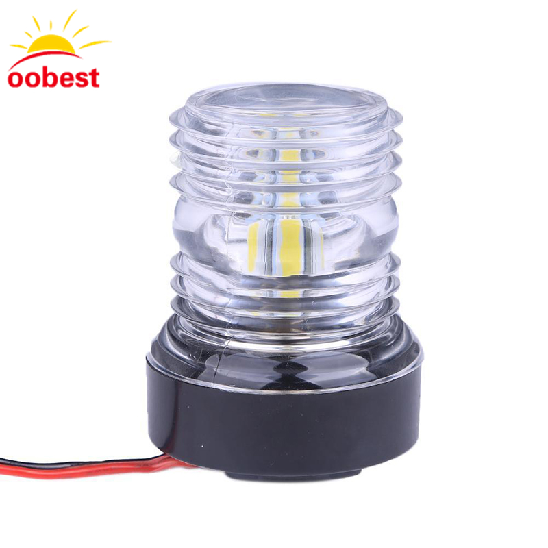 oobest Dustproof Waterproof Super Bright <font><b>Marine</b></font> Boat Yacht Stern Anchor LED Navigation Lights 360 All-round White Lamp