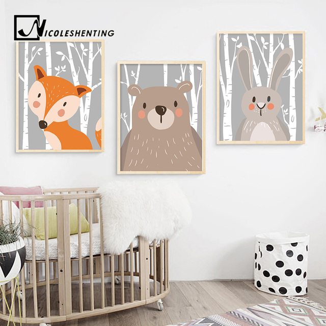 Rabbit Fox Bear Animal Nursery Posters and Prints Wall Art Canvas Painting Decorative Picture Nordic Style Kids Decoration