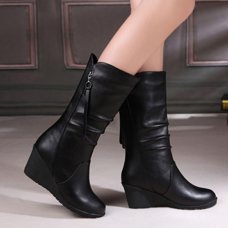 Winter Boots 2019 Women Boots Wedge Mid Calf Boots Women Shoes Black Fashion Mother Shoes Leather Boots Round Toe Ladies Shoes
