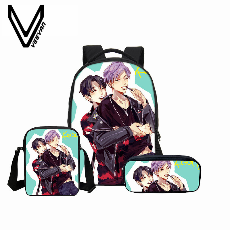 3 Pcs/set VEEVANV Girls School Bags Cute BTS 3D Printing Backpack Fashion Cartoon Mochila Combination Package Children Backpack