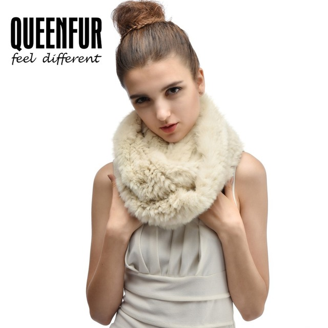 QUEENFUR 2016 Genuine Rabbit Fur Scarf For Women Fashion Pullover Knitted Rex Rabbit Fur Scarves Winter Warm Fur Neckerchief