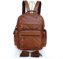 Fashion Unique Design Vintage Genuine Leather Brown Men's Backpacks Satchel Bookbag Shoulder Bags Travel Bags Laptop #VP-J2751