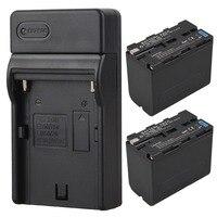 2pcs 7800mAh NP F960 NP F970 Digital Li Ion Battery USB Charger For Sony NP F960
