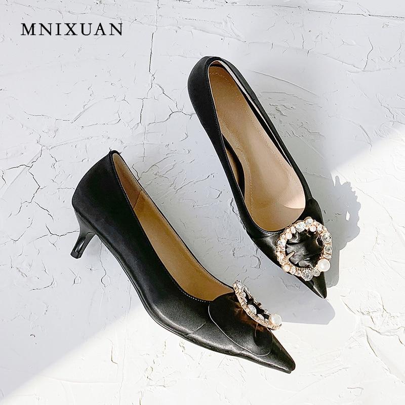 Bombas 43 plata Nueva Zapatos Gran Perlas 2019 Tamaño De Mnixuan Alto Imitación Negro Tacón Diamantes Clásicos Mujer Superficial Sexy Punta Fijación fURBwpI