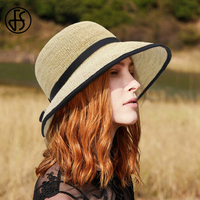 FS Elegant Raffia Hand Made Round Cap Summer Sun UV Protection Straw Hats For Women With Ribbon Outdoor Holiday Beach Bucket Hat