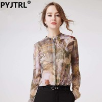 100 Real Silkworm Silk Women S Spring Long Sleeve Shirts Elegant Flower Print OL Plus Size