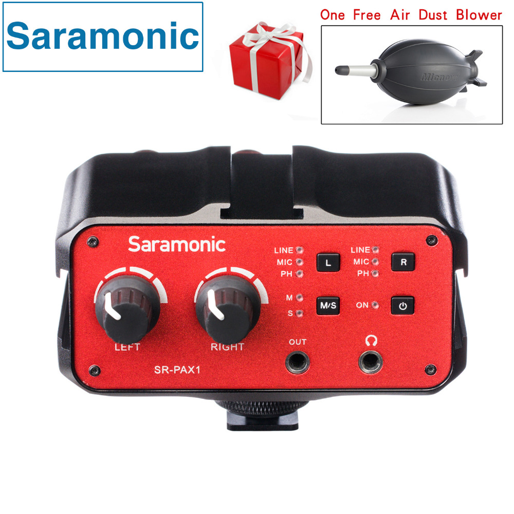 Saramonic 2-Channel Audio Mixer Preamp Microphone Adapter Dual XLR 6.3mm 3.5mm Inputs for iPhone 7 Smartphone Guitar DSLR Camera