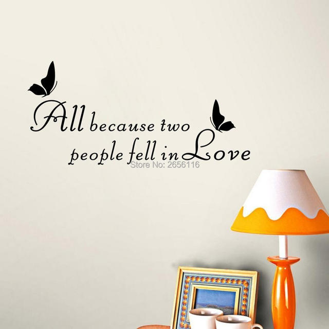 All Because Two People Fell In Love Quote Art Lettering Vinyl Wall