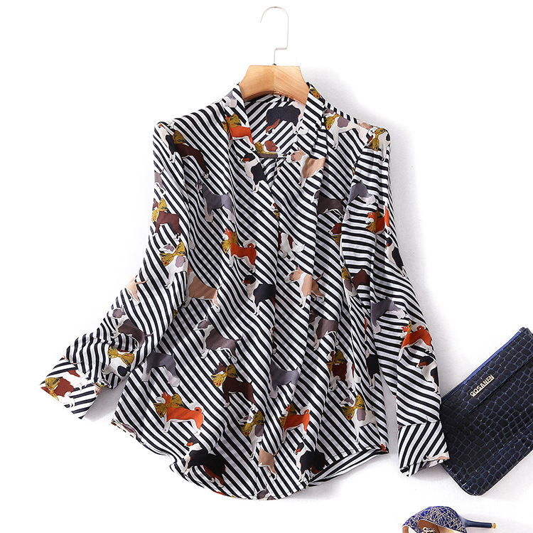 Silk striped print v-neck single breasted blouse 2018 new women spring summer shirts high quality office lady slim shirts