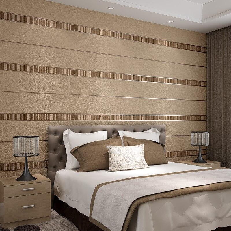 Moderne Simple daim Pain rayures papier peint pour murs rouleau Papel De Parede 3D Non tissé papier peint salon chambre décor à la maison