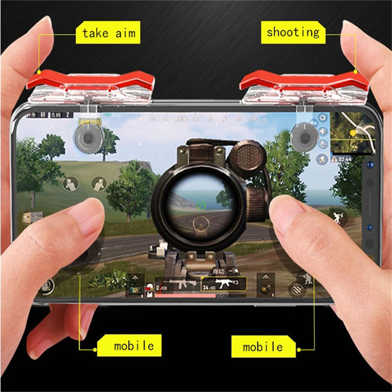 E9 1 Pair Smart Phone Mobile Gaming Trigger Shooter For Toy Knives out/ Rules of Survival/ PUBG Mobile Game Fire Button Aim Key repsol brake lever