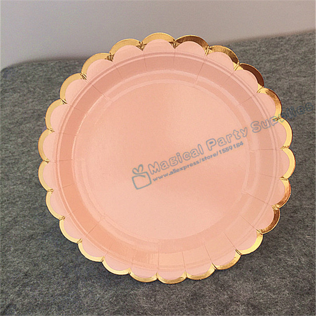 24pcs Foil Gold Scallop Party Paper Plates Small 7inch/18cm Round Dishes Kid\u0027s Birthday Supplies & 24pcs Foil Gold Scallop Party Paper Plates Small 7inch/18cm Round ...