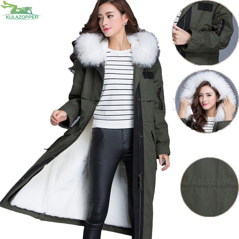 Winter parka coat 2017 new women raccoon fur collar Rabbit fur parka liner female long section warm thick outwear QW631 2017 winter new clothes to overcome the coat of women in the long reed rabbit hair fur fur coat fox raccoon fur collar