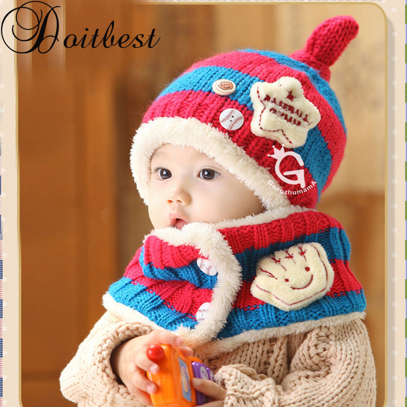 Doitbest 1 To 4 Years Old Korea Striped Five-pointed Star Kids Boys Knitted Fur Hats Winter Solid 2 Pcs Baby Girl Scarf Hat Set