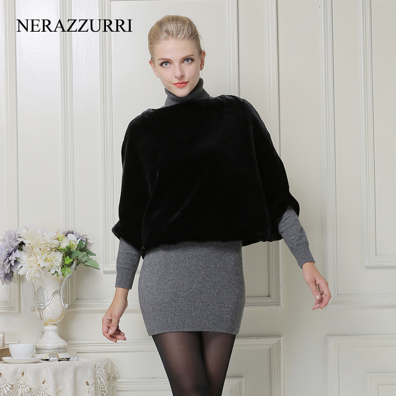 Nerazzurri faux fur cape women winter 2019 short top luxury fake fur jacket rex rabbit pullovers fulffy coat Bat Sleeved poncho