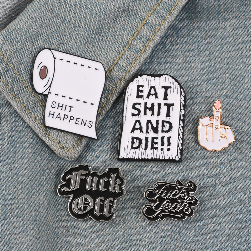 Brooch Collection Lapel-Pin Paper-Eat Happens-Roll Punk Funny Tombstone-Off Finger-Enamel