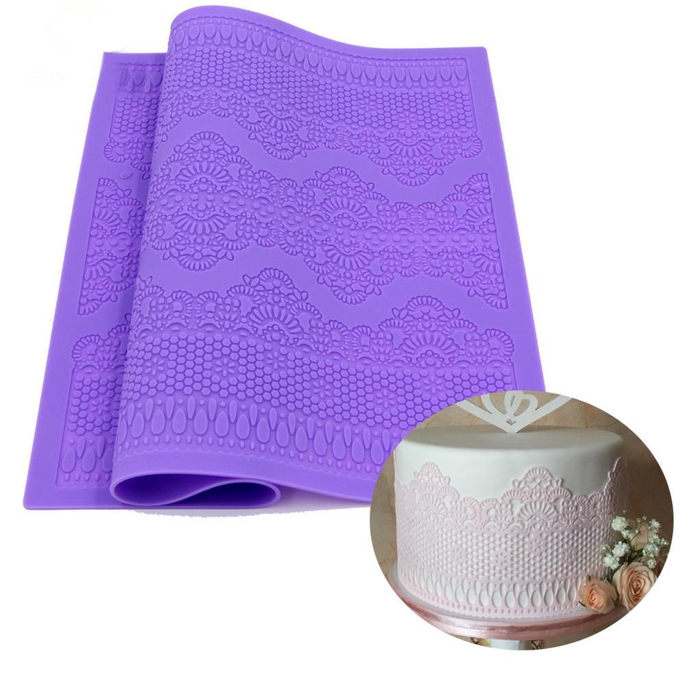 39 * 29 gran silicona estera de encaje pastel Fondant patrón de flor de encaje de azúcar del molde de la boda que adorna el molde de encaje para hornear