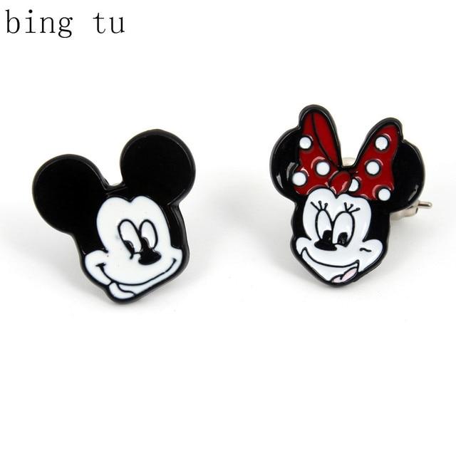 Bing Tu Christmas Gift Enamel Animal Jewelry Lovely Anime Black White Animals Head Stud Earrings Women Earing pendientes mujer