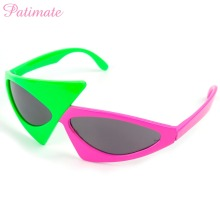 PATIMATE Green Roy Purdy Glasses Asymmetric Triangular Sunglasses Novelty Kids Women Contrast Color Hip-Hop Party Decor