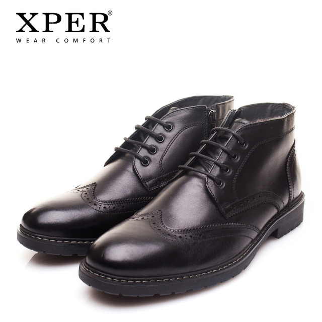 XPER Фирменная новинка из натуральной кожи Мужские ботинки Мода Корова мужская кожаная обувь однотонные черные теплый плюш Мужская зимняя обувь XYWD22761BL
