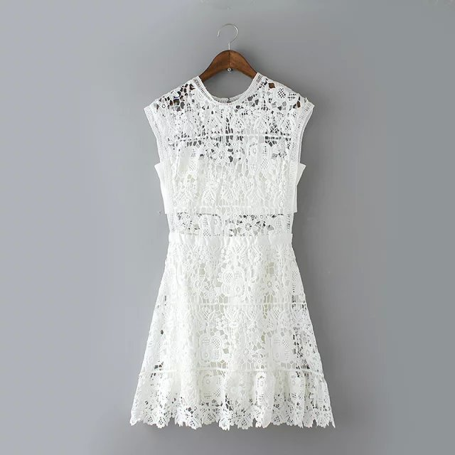 Top Design Elegant Lace Crochet Dress Sweet S Y Slim Women Dresses Sleeveless Evening Party Ad Gl181